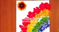 Аплікація з квітів «Веселка». Майстер-клас з покроковими фото