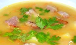 Гороховий суп з копченостями фото