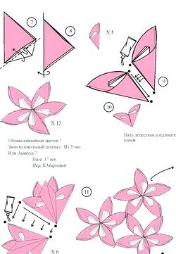 Як зробити квіти орігамі фото