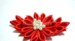 Канзаши. Шпильки для волосся з квітами. Майстер клас з покроковий фото фото