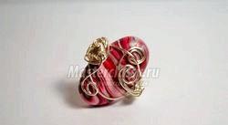 Кільце в техніці wire wrap. Рожеві відтінки. Майстер-клас з покроковими фото фото