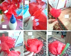 Червона квітка з паперу. Майстер клас з фото