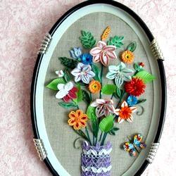 Квілінг. Картина з квітами. Майстер клас з покроковий фото фото