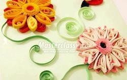 Квілінг. Листівка «Вітаю» з квітами. Майстер клас з покроковими фото