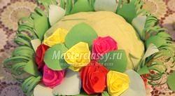 Козуб з трояндами в техніці квіллінг. Майстер клас з покроковими фото