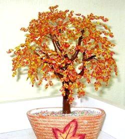 Осіннє дерево з бісеру. Майстер клас з покроковим фото