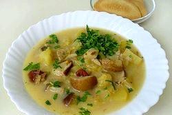 Рецепт. Сирний суп з білими грибами