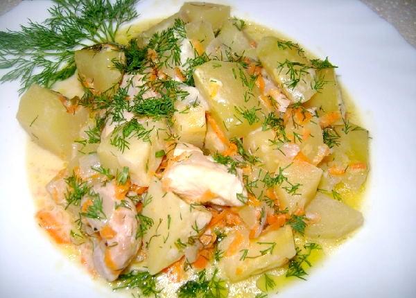 Рецепт тушкованої курки з картоплею фото