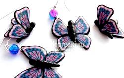 Сережки з полімерної глини з метеликами. Майстер клас з покроковий фото