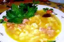Суп з галушками фото