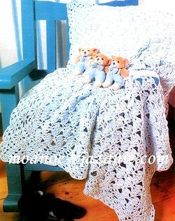 В'язане покривало для новонародженого гачком. Схема і опис