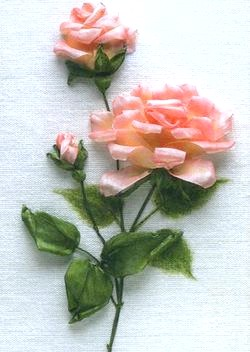 Вишивка стрічками. Гілка троянд