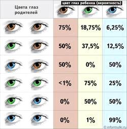Колір очей: як передається від батьків дитині. Розрахувати колір очей дитини.