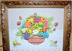 Вироби із Солон тіста. Кошик з фруктами фото