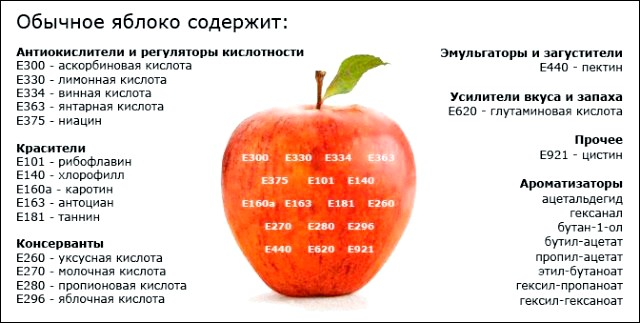 з чого складається звичайне яблуко