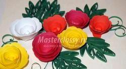 Квіти в техніці квіллінг. Троянди. Майстер клас з покроковий фото