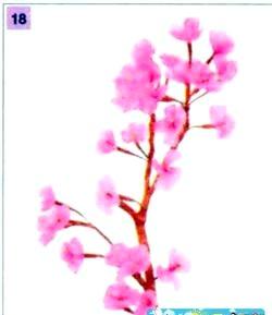 Квіти з гофровані паперу. Гілка сакури. Майстер клас з покроковий фото